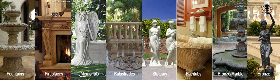 Purchase 100's of beautiful solid marble fireplaces, fountain, statuary, memorials, balustrades, kitchen and  bath, marble and bronze home design and architectural elements